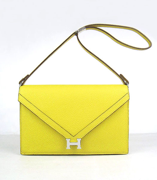 Hermes Small Envelope Message Bag Lemon Yellow Leather with Silver Hardware