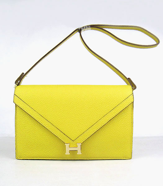 Hermes Small Envelope Message Bag Lemon Yellow Leather with Gold Hardware