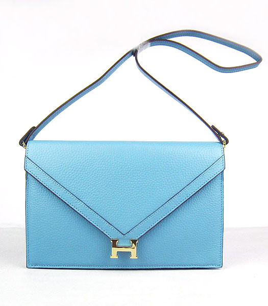 Hermes Small Envelope Message Bag Light Blue Leather with Gold Hardware