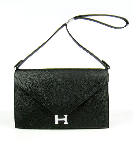 Hermes Small Envelope Message Bag Black Leather with Silver Hardware