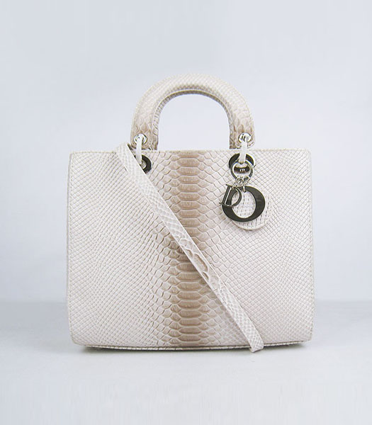 Christian Dior Middle Snake Veins Messenger Tote Bag White with Grey Leather