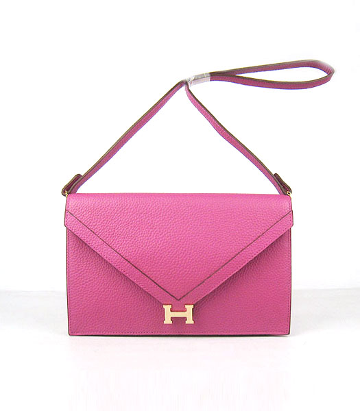 Hermes Small Envelope Message Bag Peach Leather with Gold Hardware