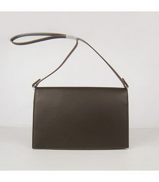 Hermes Small Envelope Message Bag Dark Coffee Leather with Silver Hardware-1