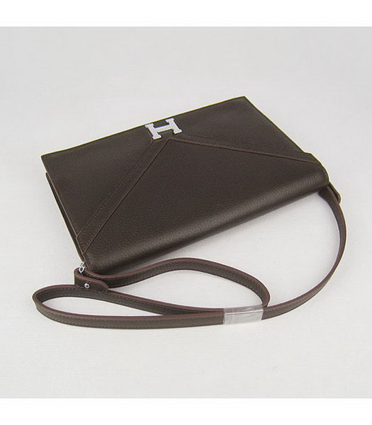 Hermes Small Envelope Message Bag Dark Coffee Leather with Silver Hardware-2