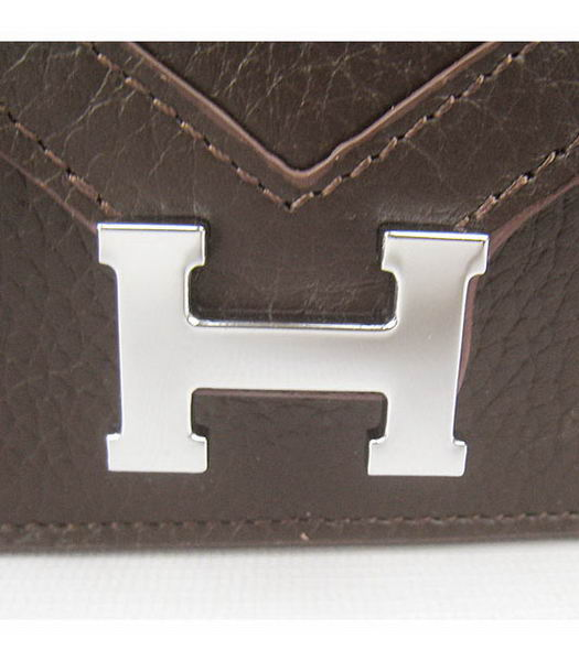 Hermes Small Envelope Message Bag Dark Coffee Leather with Silver Hardware-3