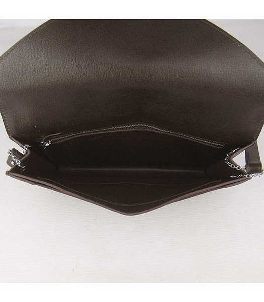 Hermes Small Envelope Message Bag Dark Coffee Leather with Silver Hardware-6