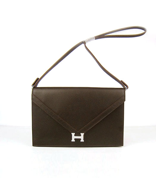 Hermes Small Envelope Message Bag Dark Coffee Leather with Silver Hardware