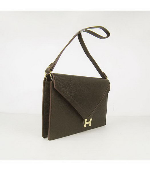 Hermes Small Envelope Message Bag Dark Coffee Leather with Gold Hardware-1