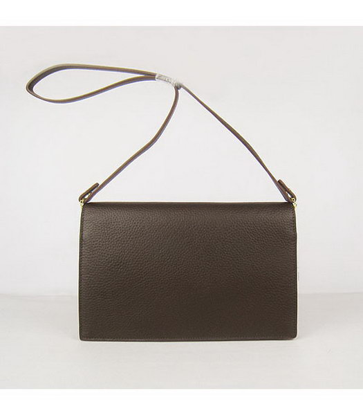 Hermes Small Envelope Message Bag Dark Coffee Leather with Gold Hardware-2