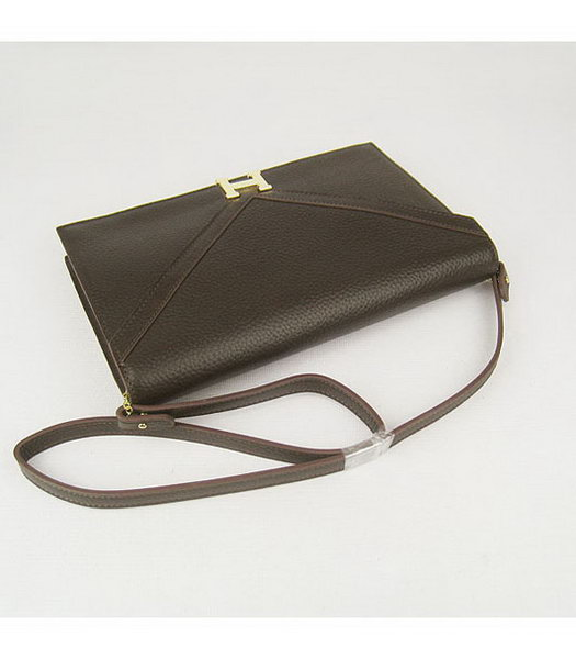 Hermes Small Envelope Message Bag Dark Coffee Leather with Gold Hardware-3