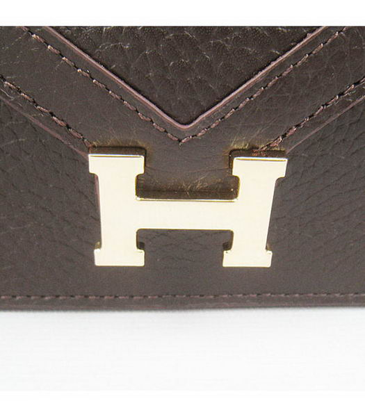 Hermes Small Envelope Message Bag Dark Coffee Leather with Gold Hardware-4