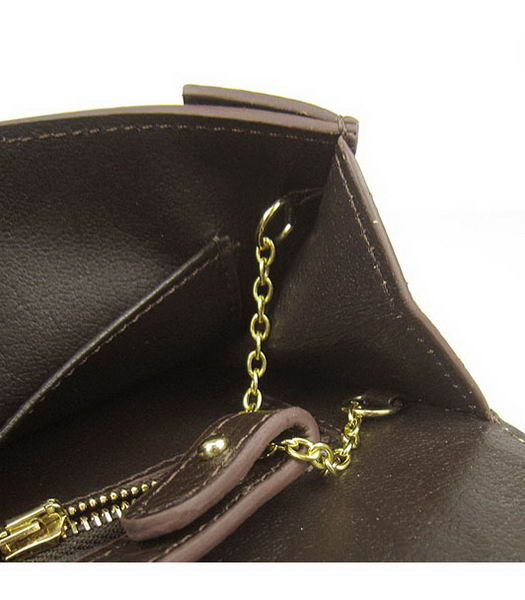 Hermes Small Envelope Message Bag Dark Coffee Leather with Gold Hardware-6