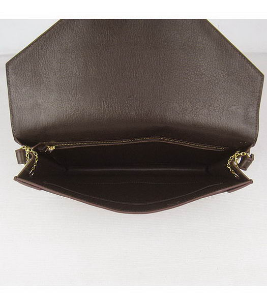 Hermes Small Envelope Message Bag Dark Coffee Leather with Gold Hardware-7