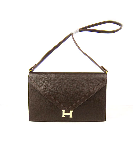 Hermes Small Envelope Message Bag Dark Coffee Leather with Gold Hardware