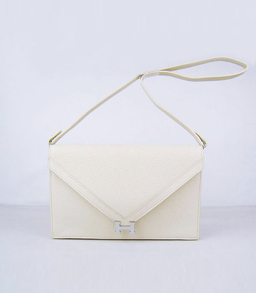 Hermes Small Envelope Message Bag Offwhite Leather with Silver Hardware