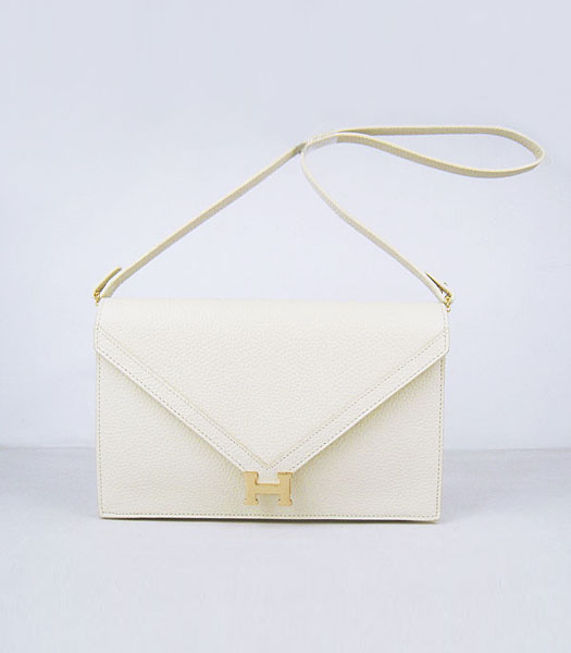 Hermes Small Envelope Message Bag Offwhite Leather with Gold Hardware
