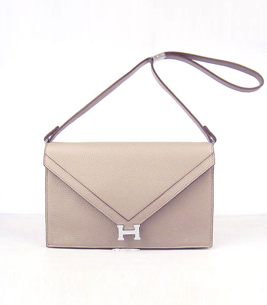 Hermes Small Envelope Message Bag Grey Leather with Silver Hardware