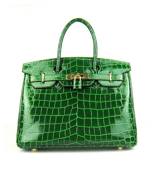 Hermes Birkin 30cm Green Crocodile Veins Handbags Gold Metal