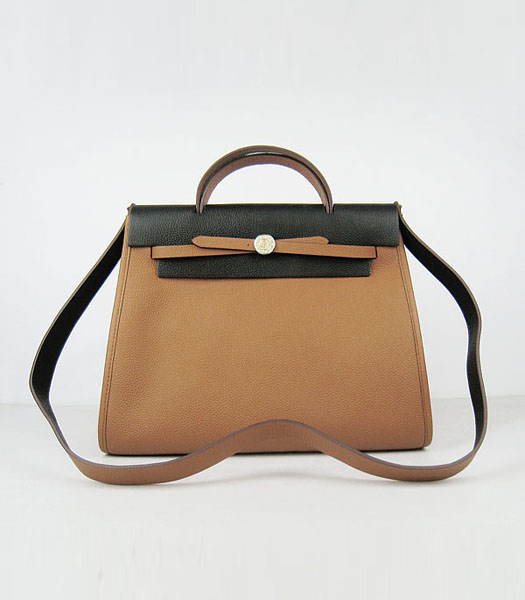 Hermes Kelly 32cm Light Coffee with Black Leather Silver Lock