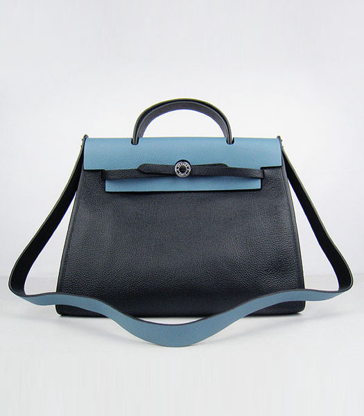 Hermes Kelly 32cm Black with Middle Blue Leather Silver Lock