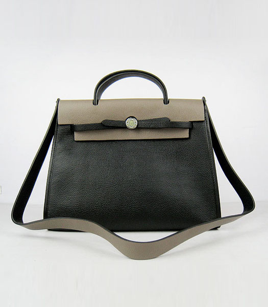 Hermes Kelly 32cm Black with Dark Grey Leather Silver Lock