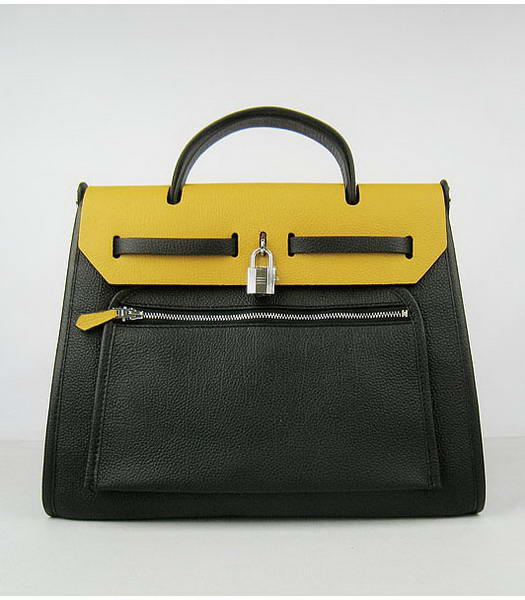 Hermes Kelly 32cm Black with Yellow Leather Silver Lock -1