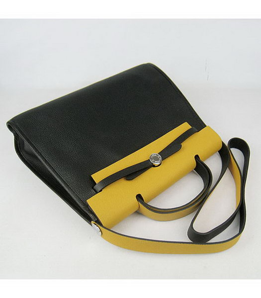 Hermes Kelly 32cm Black with Yellow Leather Silver Lock -2