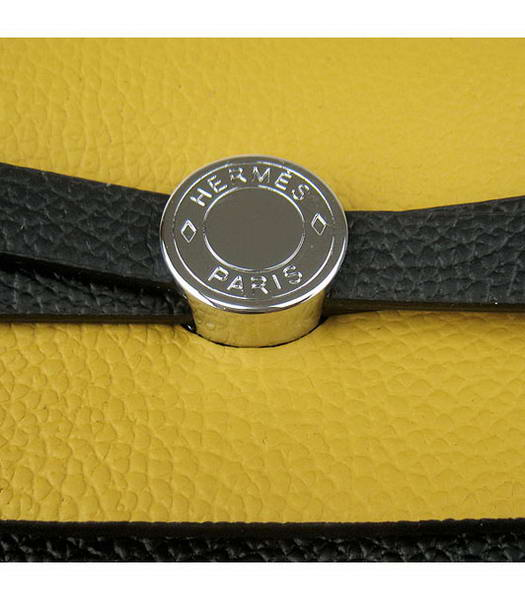 Hermes Kelly 32cm Black with Yellow Leather Silver Lock -3