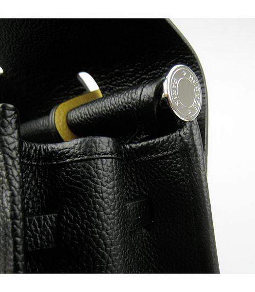 Hermes Kelly 32cm Black with Yellow Leather Silver Lock -6