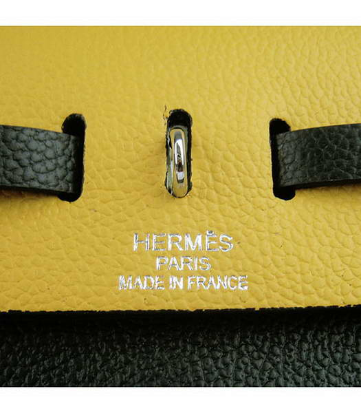 Hermes Kelly 32cm Black with Yellow Leather Silver Lock -7