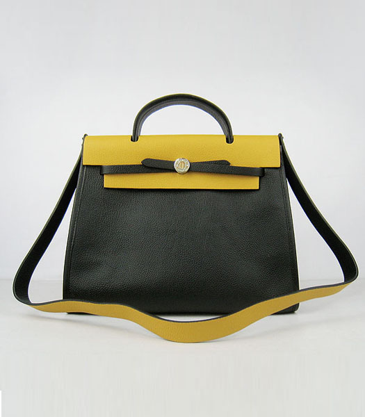 Hermes Kelly 32cm Black with Yellow Leather Silver Lock