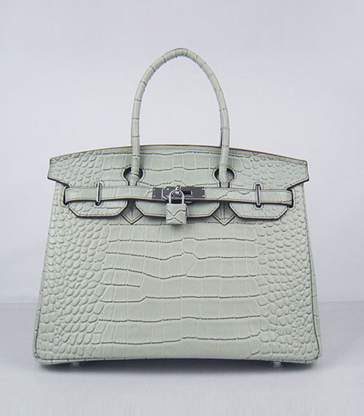 Hermes Birkin 30cm Crocodile Veins Handbags in Silver Grey Calfskin (Silver)