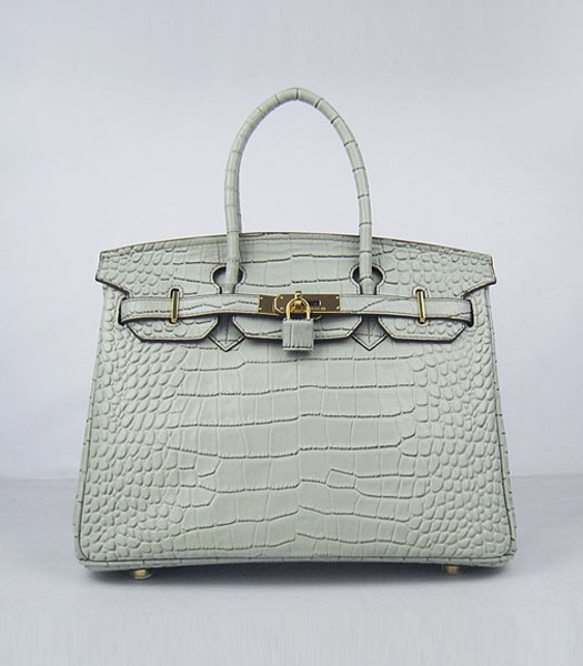 Hermes Birkin 30cm Crocodile Veins Handbags in Silver Grey Calfskin (Gold)