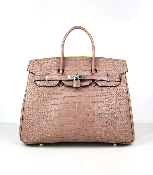 Hermes Birkin 35cm Crocodile Veins Handbags in Light Coffee Calfskin (Silver)