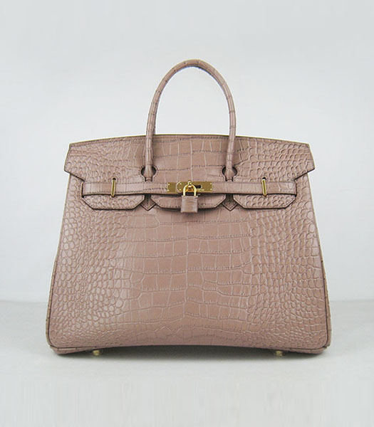 Hermes Birkin 35cm Crocodile Veins Handbags in Light Coffee calfskin (Gold)
