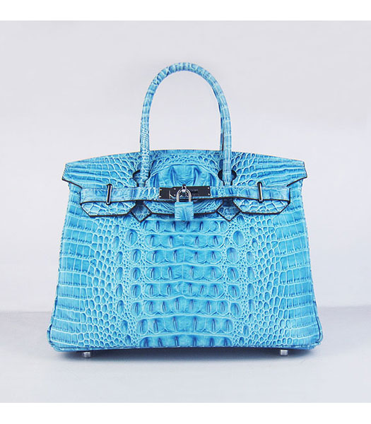 Hermes Birkin 30cm Bag Croc Head Veins Bag in Blue calfskin Silver Metal