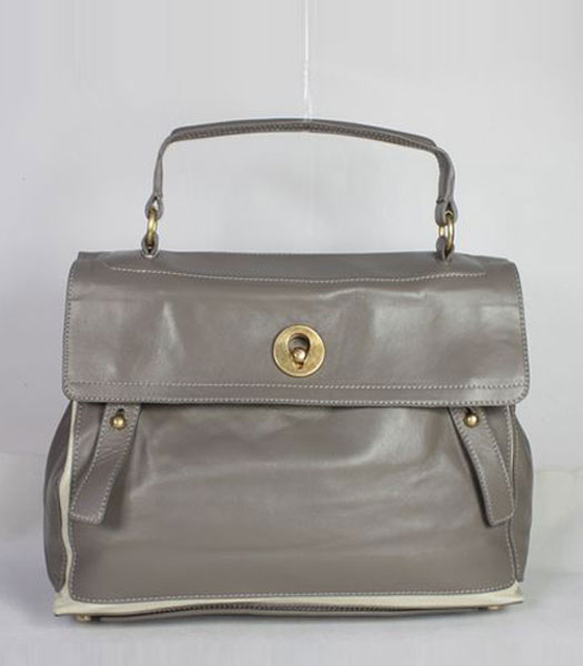 YSL Grey Leather Tote Bag