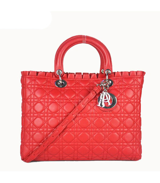 Christian Dior Sheepskin Leather Tote Bag Red
