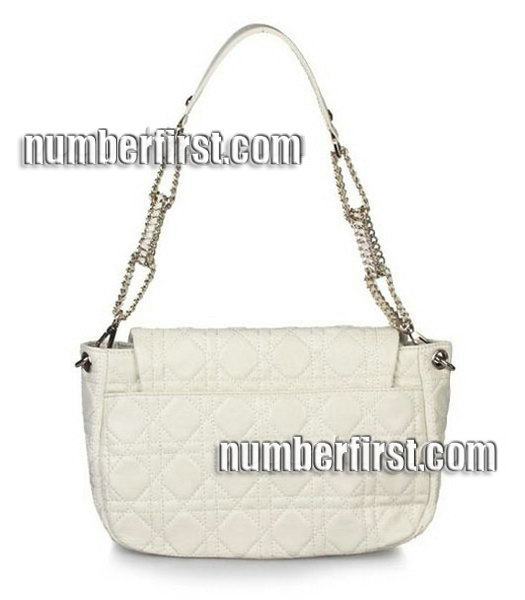 Christian Dior Chains Shoulder Bag in Offwhite Lambskin-2
