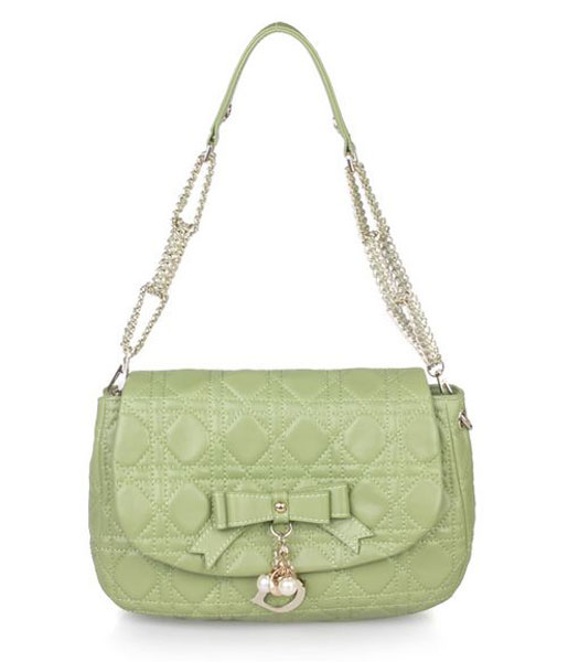 Christian Dior Chains Shoulder Bag in Green Lambskin