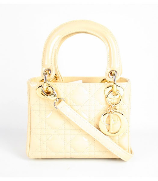 Christian Dior Apricot Gold Patent Leather Small Tote Bag