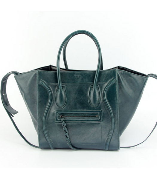 Celine Small Tote Bag in Dark Green Oil Wax Leather