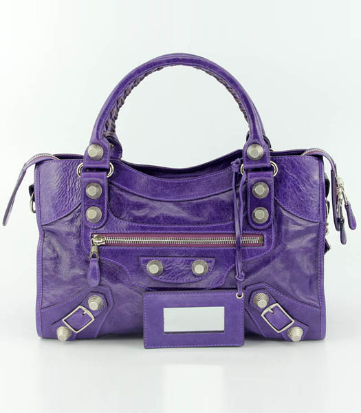 Balenciaga Motorcycle City Bag in Purple Oil Leather (White Nails)