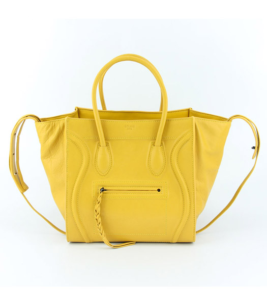 Celine 30cm Tote Bag in Yellow Oil Wax Leather