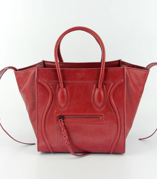 Celine 30cm Tote Bag in Red Oil Wax Leather