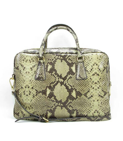 Prada Python Veins Leather Tote Bag Apricot