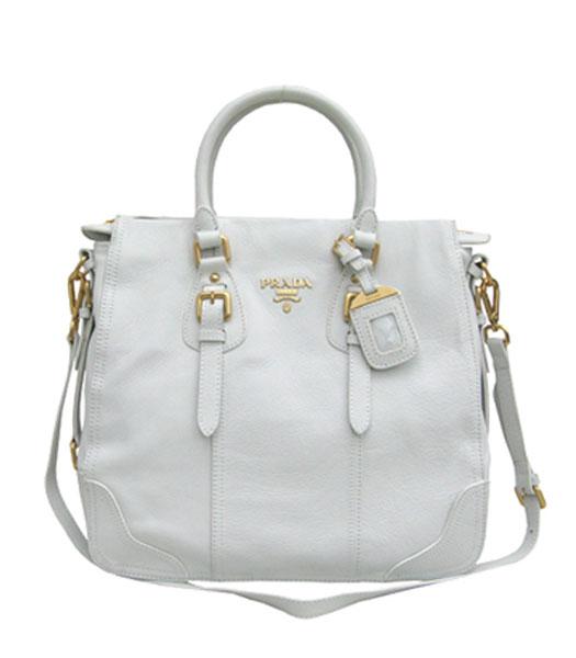 Prada Tote Shoulder Bag White Leather - Replica Handbags