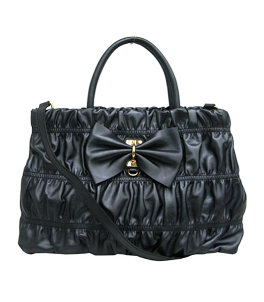 Prada Limited Lambskin Bow Bag Black