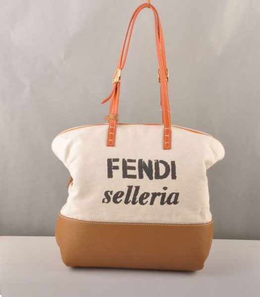 Fendi Fabric Tote Bag Earth Yellow Leather with Orange Strap Handle