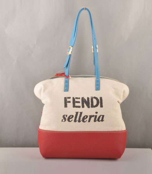Fendi Fabric Tote Bag Dark Red Leather with Blue Strap Handle